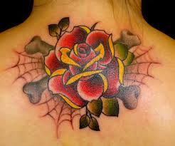 old rose tattoo with spider web tattoo floral