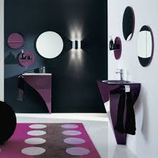 bathroom some decorating ideas for girls shower bathroom comfortable purple dots carpet minimalis water sink simple round mirrors soap bottles small lamp