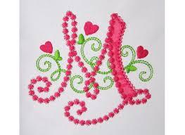 Create Monogram Initials Cute Letter M Alphabet For Lil Princess Hearts Applique Embroidery