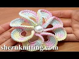 Crochet Designs Flowers 3d Spiral 8 Petal Flower Trim Around Tutorial 56 Perustekniikoilla
