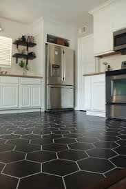 white kitchen cabinets black tile floor kitchen reveal diy kitchen flooring hexagon tile kitchen