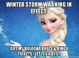 Winter Storm Meme - winter storm warning in effect got my bologna booze bingo
