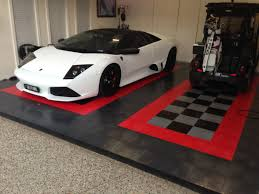 racedeck garage flooring with a nice lamborghini resting on it