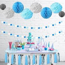 tissue paper decorations thecraftyshop baby blue white grey baby shower party paper