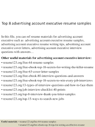 Executive Resumes Samples by Top 8 Advertising Account Executive Resume Samples 1 638 Jpg Cb U003d1429860715