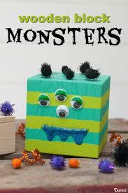 monster crafts for kids wooden block monsters darice