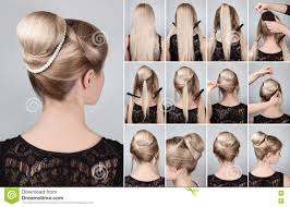hair tutorial hairstyle with bun for long hair tutorial stock image image