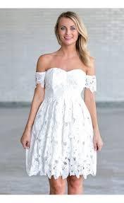 off white crochet lace off shoulder dress rehearsal dinner dress