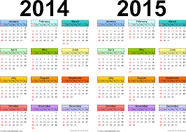 2014 2015 calendar free printable two year word calendars