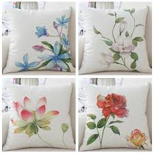 watercolor flower throw pillows for home decoration shabby chic