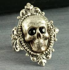 silver skull ring halloween ring gothic ring neo victorian
