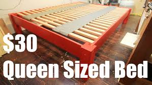 How To Make A Platform Bed Frame With Legs by How To Make A Queen Sized Bed For Under 30 Youtube