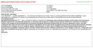 nutrition consultant cover letter
