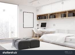 white bedroom interior concrete floor single stock illustration