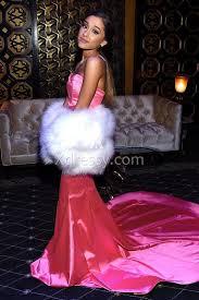 ariana grande strapless pink satin mermaid prom dress mtv movie