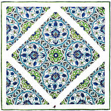 blue and green ottoman tile pocket square rampley and co