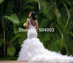 plus size mermaid wedding dresses 2016 deep v neck beading wedding