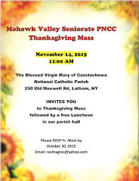 seniorate thanksgiving holy mass and luncheon mohawk valley