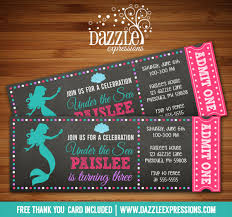 printable mermaid chalkboard ticket birthday invitation under