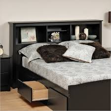 epic king size bed frame with bookcase headboard 69 on leather