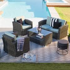 coral coast dursey all weather wicker 4 piece patio conversation