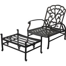 Reclining Patio Chair Black Cast Iron Porch Chair With Ornate Reclining Back And Wide