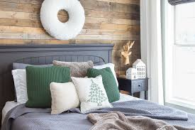 Winter Room Decorations - rustic winter bedroom with gray and green