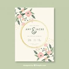 wedding invitation card wedding invitation card with flowers vector free