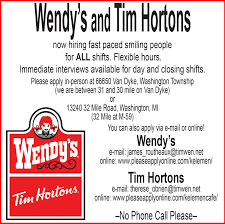 wendy s and tim hortons the record