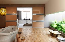 double sided of beige wooden sliding room partitions having f