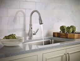 moen one handle kitchen faucet moen 7185esrs brantford with motionsense single handle high arc