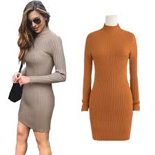 aliexpress com buy slim fit turtleneck sweater dress bodycon