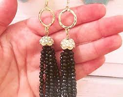Black Bead Earrings Bronze Chandelier Black Tassel Earring Etsy