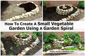 small vegetable garden using a garden spiral