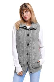 grey cable knit hooded sweater vest mb27665 1011 modeshe