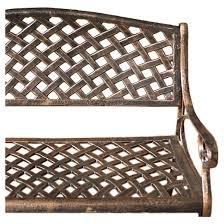 cozumel cast aluminum patio bench antique copper christopher