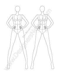 v61 front view free fashion croqui template designers nexus