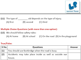 4th class evs worksheets on safety and first aid