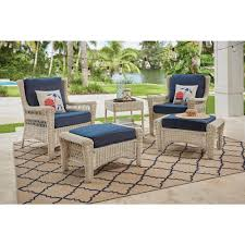 hampton bay park meadows off white 5 piece wicker outdoor patio