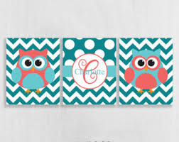 teal and coral art etsy