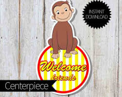 Curious George Centerpieces by Centerpiece Curious George Etsy