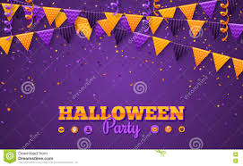 halloween party invitation background halloween carnival background with flags garlands stock vector