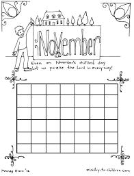 november calendar coloring calendar