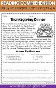 free thanksgiving reading comprehension workbook writing