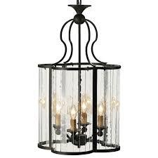 Cloverleaf Home Interiors Rudolpho Wrought Iron Seeded Glass Clover Leaf Lantern Pendant