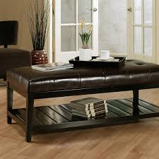 Ottoman Leather Coffee Table Winslow Bicast Tufted Leather Coffee Table Ottoman Hayneedle