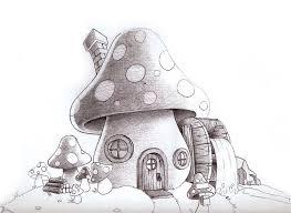 cool mushroom drawings mushroom house illustration sketch