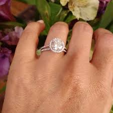 2 carat ring moissanite engagement ring with unique 2 carat floating halo