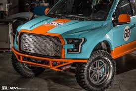 gulf racing galpin auto sports shows off their wide body f 150 in gulf racing