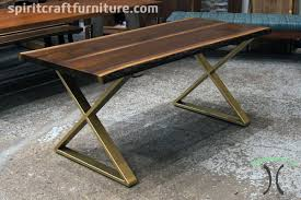 live edge table chicago live edge black walnut table on bronze gold x legs this